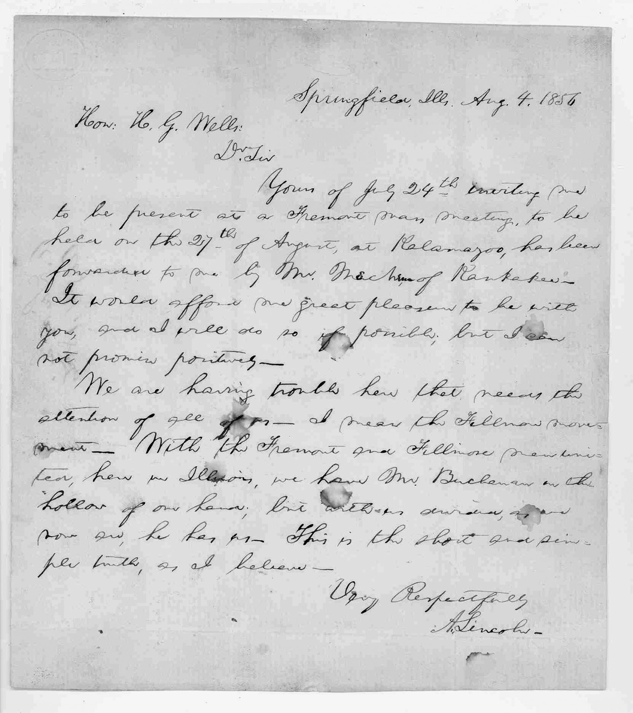 Figure 1. The August 4, 1856, letter from Abraham Lincoln to Hezekiah Wells is preserved at the Kalamazoo Valley Museum in Kalamazoo, Michigan.