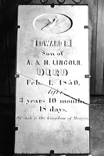 "The tombstone of Edward ""Eddy"" Lincoln is preserved at the Abraham Lincoln Presidential Library & Museum."