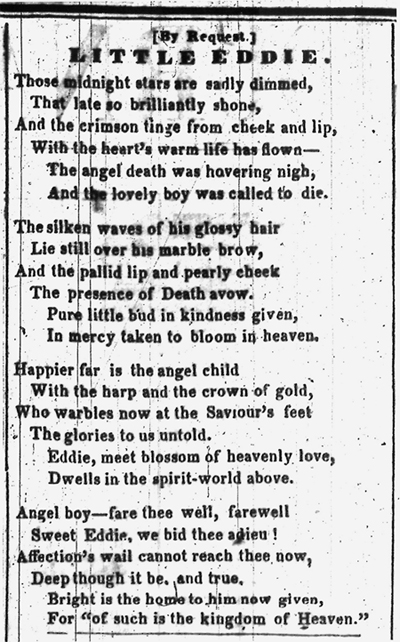 """Little Eddie"" as it appeared in the Illinois Daily Journal, February 7, 1850."