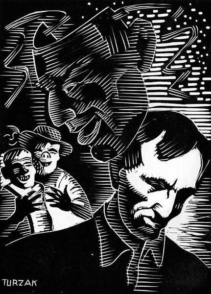 Figure 2. The Dual Personality, woodcut, 1932–33, from Abraham Lincoln: Biography in Woodcuts (1933). Figures 3 through 11 also are from this source and are the same scale.