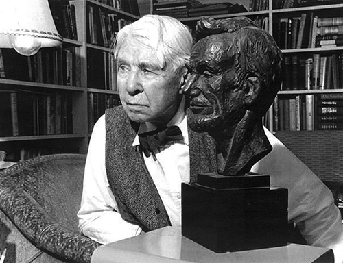 Figure 4.: Carl Sandburg posing with a bust of Lincoln. Photograph by June Glenn Jr., 1960. Courtesy of Robin Lee Stafford.