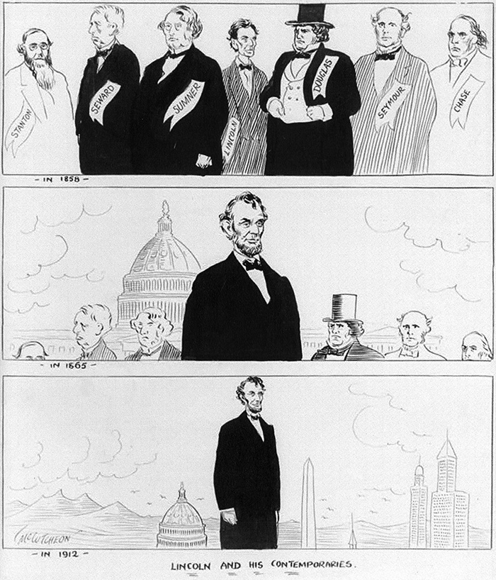 "Figure 5.: John T. McCutcheon (1870–1949), ""Lincoln and His Contemporaries [in 1858, in 1865, in 1912]"" Chicago Daily Tribune, February 12, 1913. Courtesy of the Library of Congress."