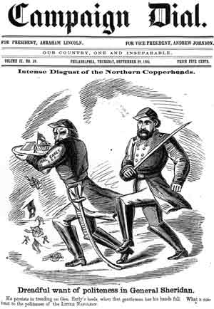 "Figure 6. ""Dreadful want of politeness in General Sheridan. He persists in treading on Gen. Early's heels, when that gentleman has his hands full. What a contrast to the politeness of the Little Napolean."""