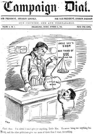 "Figure 12. ""Uncle Sam: I'm afraid I can't give ye anything, Little Mac. Ye never bring me anything but Words, and the other politicians give me more of them than I want, for nothing."""
