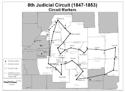 Figure 1. Map of the 8th Judicial Circuit (1847–1853). The solid line shows the route of the circuitriding lawyears. The broken line shows changes in the route as a result of county seat relocations.