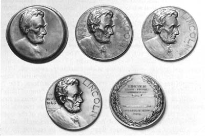 "Figure 6. To manufacture the Lincoln medallion, the Illinois Watch Company turned to Whitehead & Hoag, maker of innumerable ""advertising novelties. "" Based in Newark, New Jersey, the company often mounted ""process exhibits"" of its work in the Newark Museum. This display of the Lincoln medallion is pictured in The Medal in America (1988)."