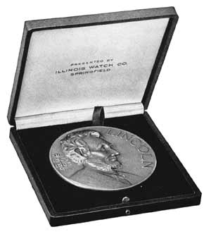 Figure 7. Although Bunn out of deference to Volk omitted the words Illinois Watch Company from the Lincoln medallion itself, the name appeared on the lid of the case for the medal, as seen in the company's booklet, Lincoln Essay Contest to Increase Knowledge and Admiration of Lincoln Among School Children in the United States (1924).