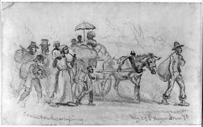 "Figure 2. ""Contrabands Escaping,"" May 29, 1864 drawing by Edwin Forbes. Library of Congress, LC-USZ62–14887."