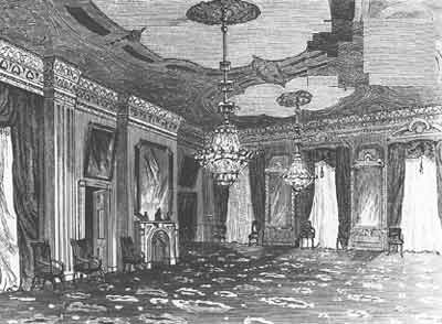 Interior drawing of the East Room from the Lincoln era.