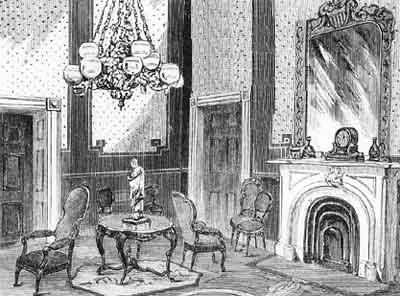 Interior drawing of the Green Room from the Lincoln era.