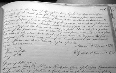 Figure 3. Page 311 records the witnessing signatures of Mary Todd and her sister Frances.