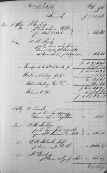 """Cash Book"" of the Illinois and Michigan Canal trustees showing receipts of Abraham Lincoln"