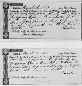 Two receipts recording payment for services to Abraham Lincoln