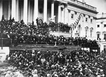 Lincoln as he delivered his Second Inaugural Address, March 4, 1865, by Alexander Gardner, Washington, D.C.