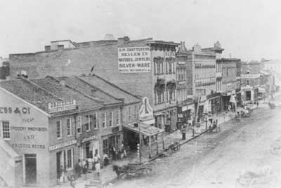 West side of Springfield town square, circa 1855.
