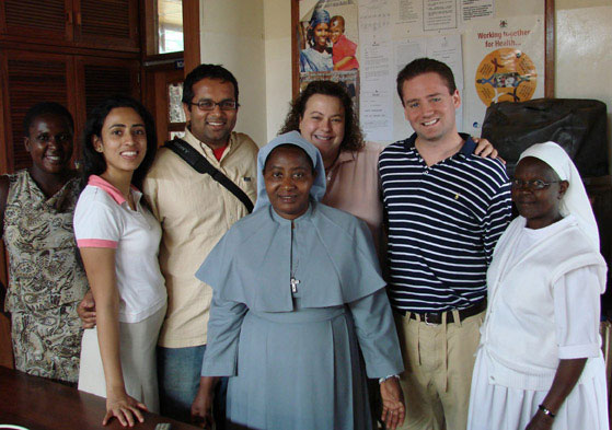 U-M Business School graduate students (left to right) Sahana Shetty, Vikram Vaishya, Brooke Reilly and David Erbstein with Virika Staff, Sisters Theresa and Agnes, at Virika Hospital in summer 2007. VIKRAM VAISHYA