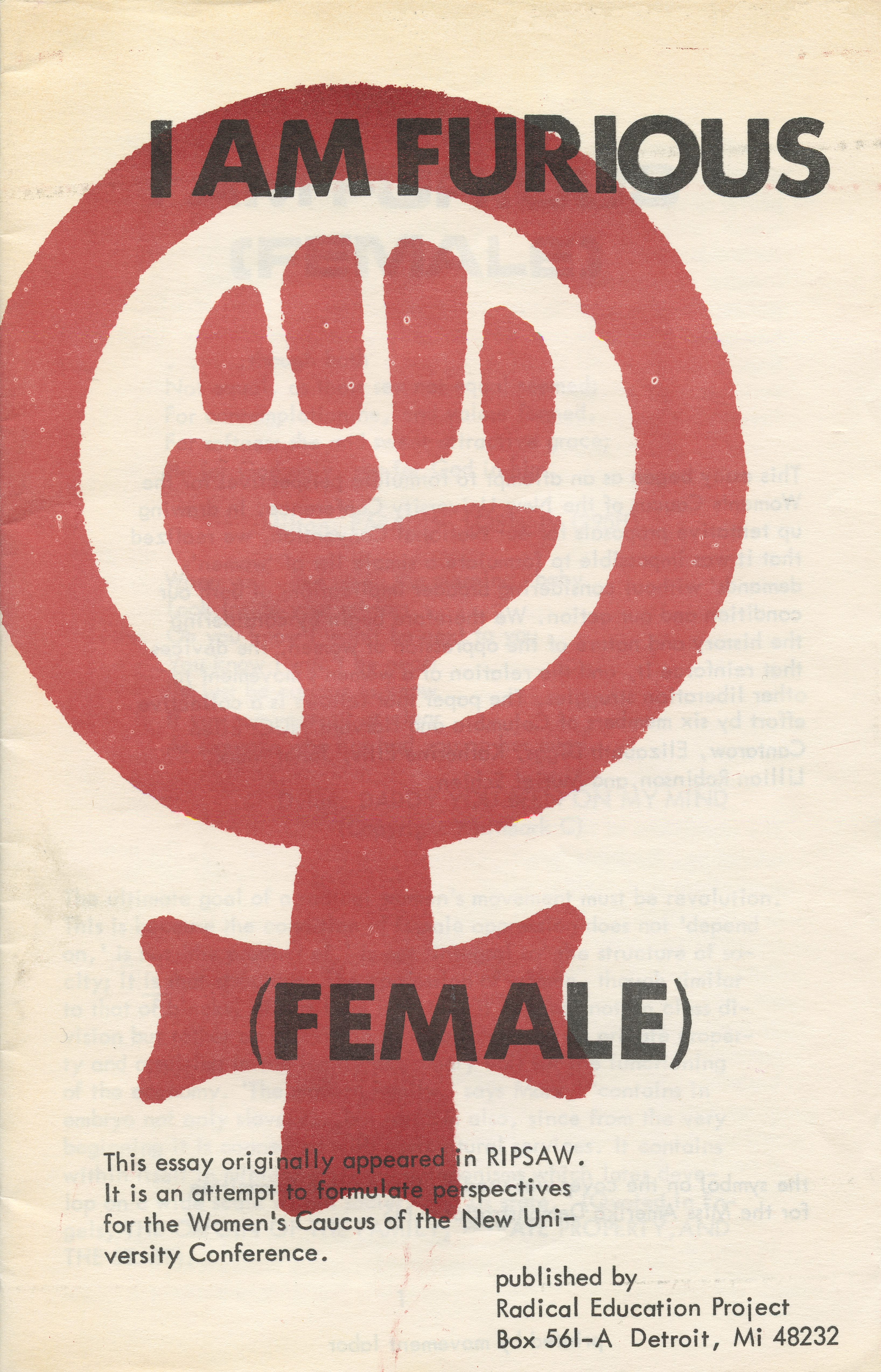 Cover, I Am Furious (Female), Radical Education Project, Detroit, 1969. University of Michigan Library (Special Collections Library)