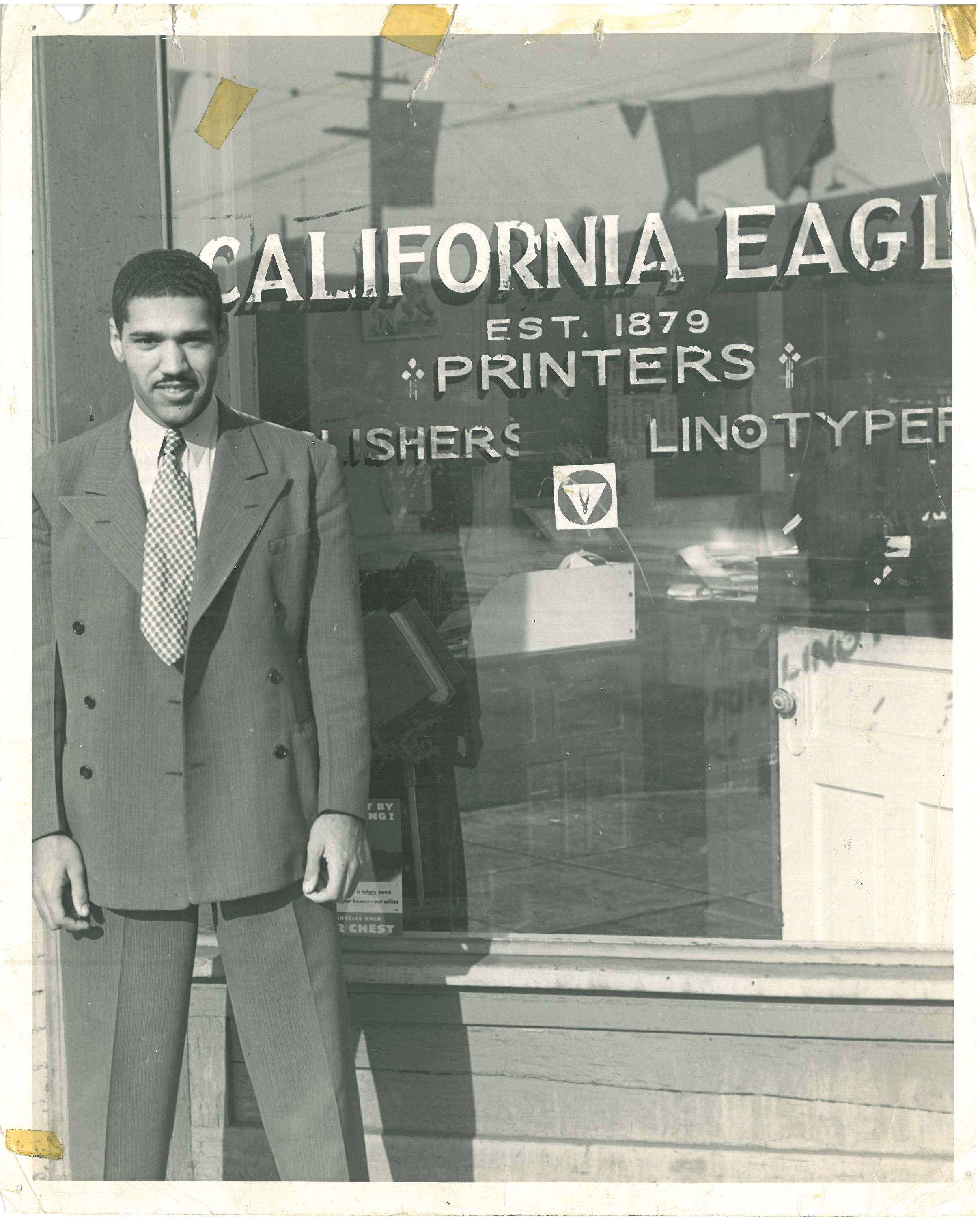 Figure 6.3. John Kinloch in front of the California Eagle offices circa 1941. Credit: Charlotta Bass Collection, Southern California Library (Los Angeles).