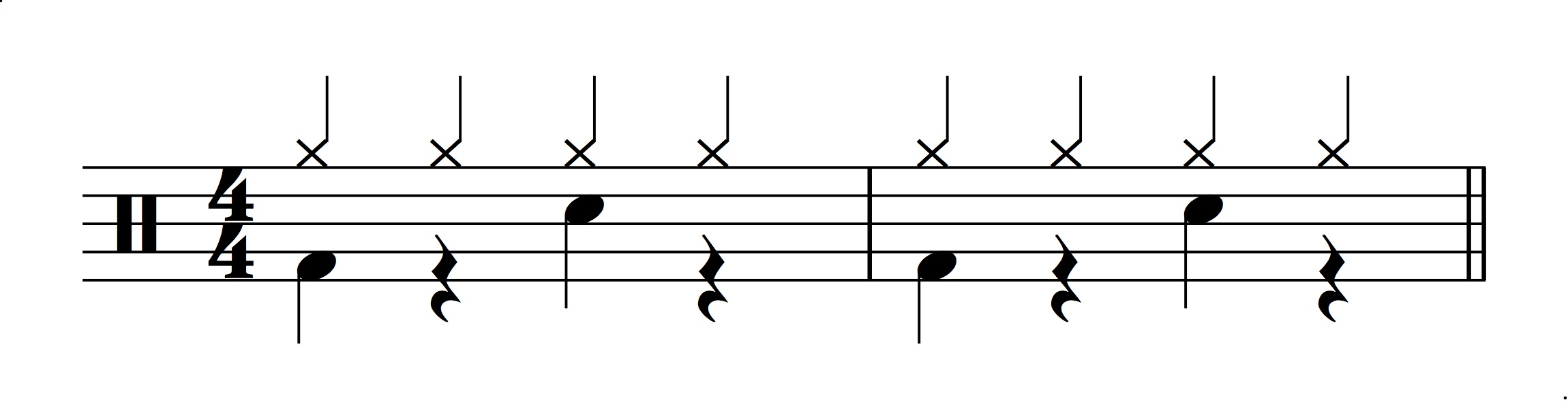 Figure 3.: Model for a half-time drum feel.