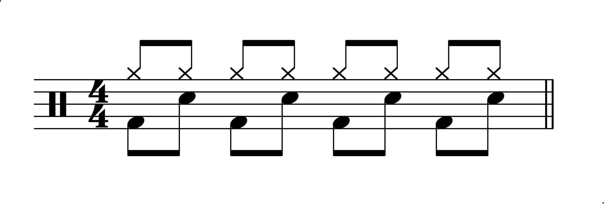 Figure 4.: Model for a double-time drum feel.