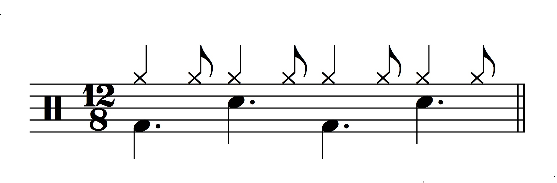 Figure 7.: Shuffle drum pattern renotated in 12/8.
