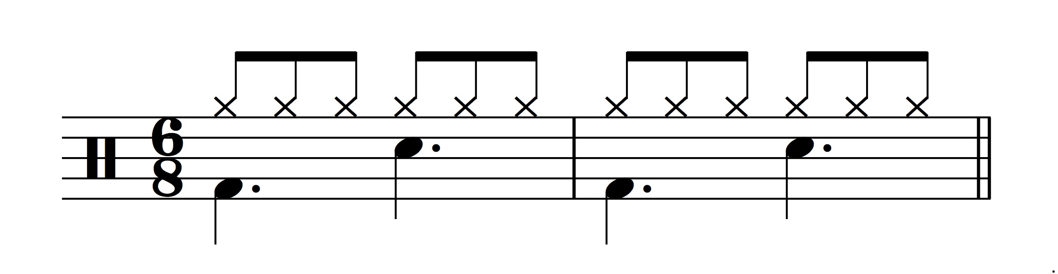 Figure 8.: Model for a standard 6/8 drum beat.