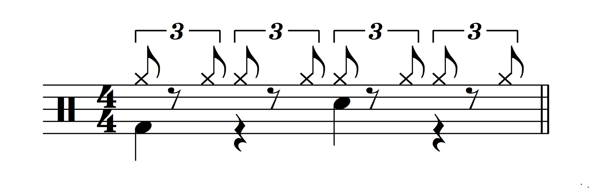 Figure 9.: Prototypical drum beat for a half-time shuffle.