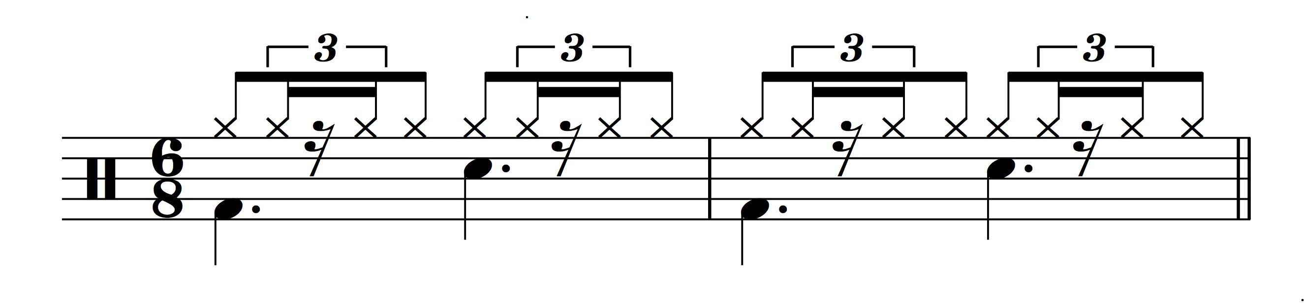 Figure 12.: Swung sixteenth notes in 6/8.