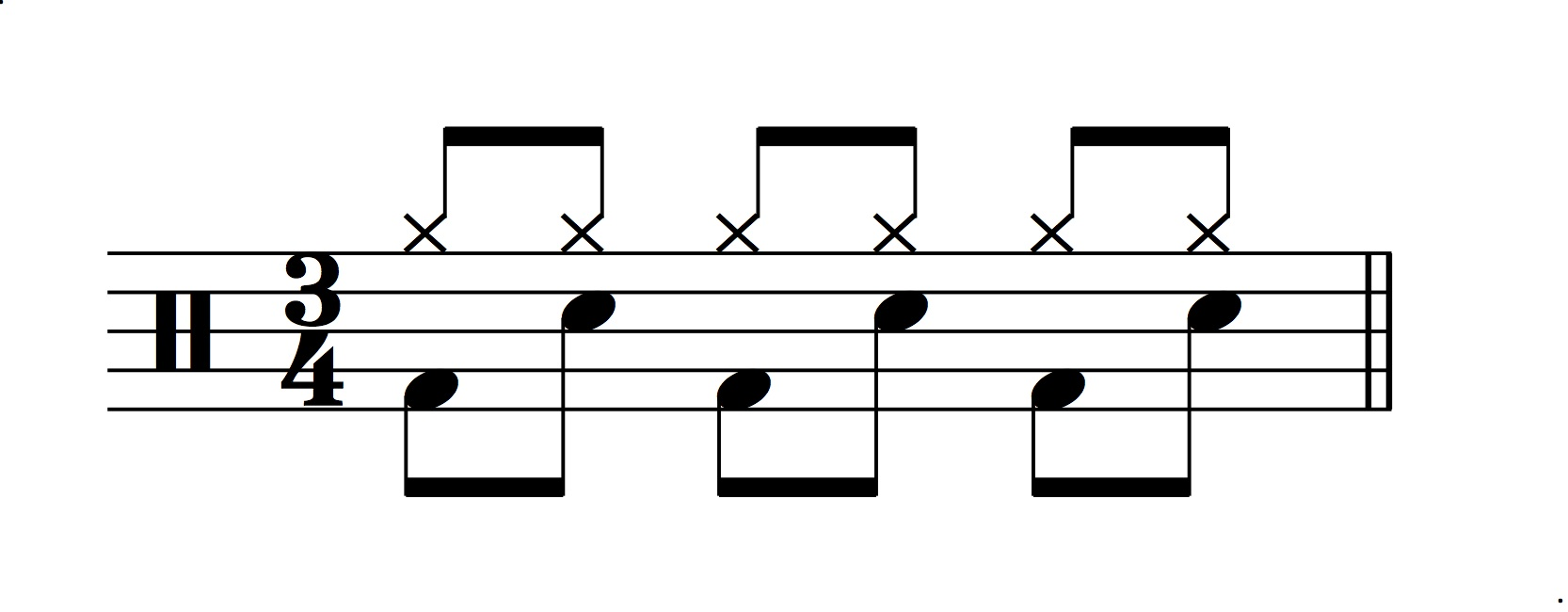 Figure 13.: Double-time drum feel in 3/4.