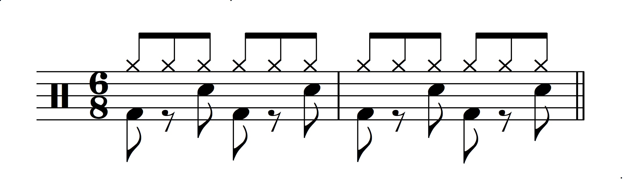 Figure 15.: Double-time drum feel in 6/8.