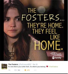 Figure 3. Example of a typical tweet from the official The Fosters Twitter account, posted March 30, 2015. The image invites viewers to feel like they are part of the Foster family while the words cite the lyrics from The Fosters's theme song.