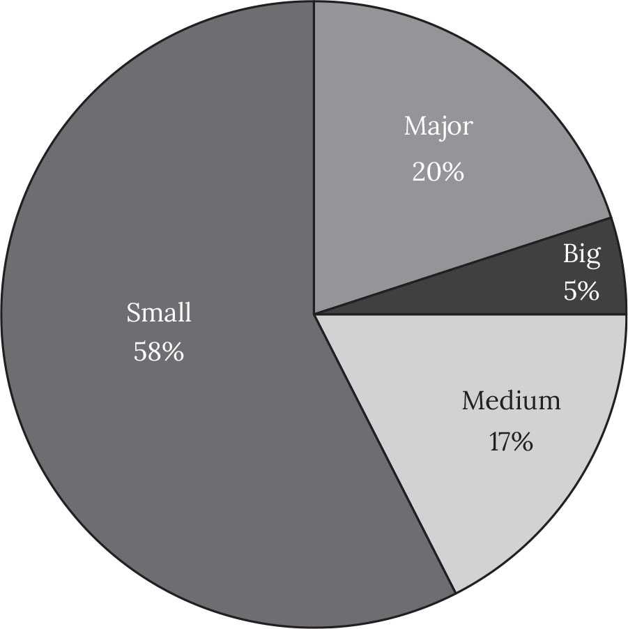 "Figure 1. Size of distribution companies in New Zealand, 2012.: Source. Adapted from Muñoz Larroa, ""Sustainability in the Film Industry."" Based on BoxOfficeMojo.com, ""2012 New Zealand and Fiji Yearly Box Office Results."""