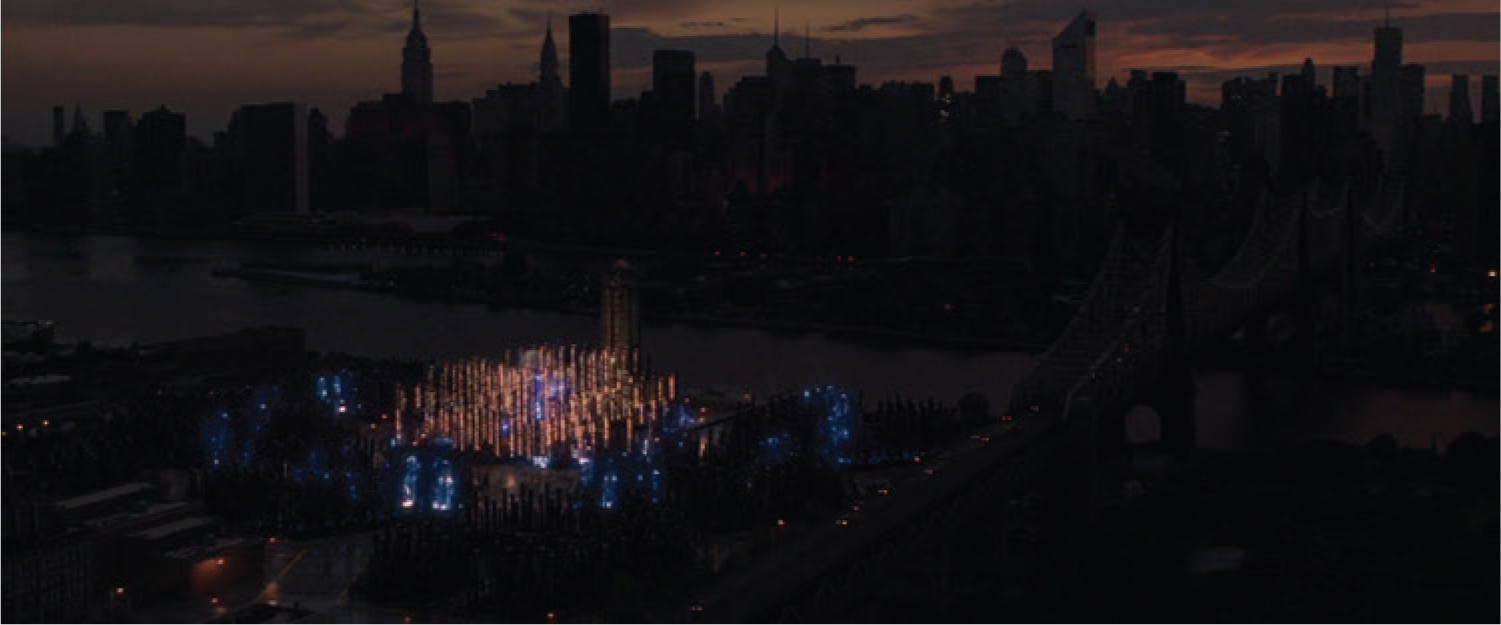 Figure 1. Wide-shot from Spider-Man 2 showing a darkened Manhattan skyline in the background, with electrified fuse station in foreground.