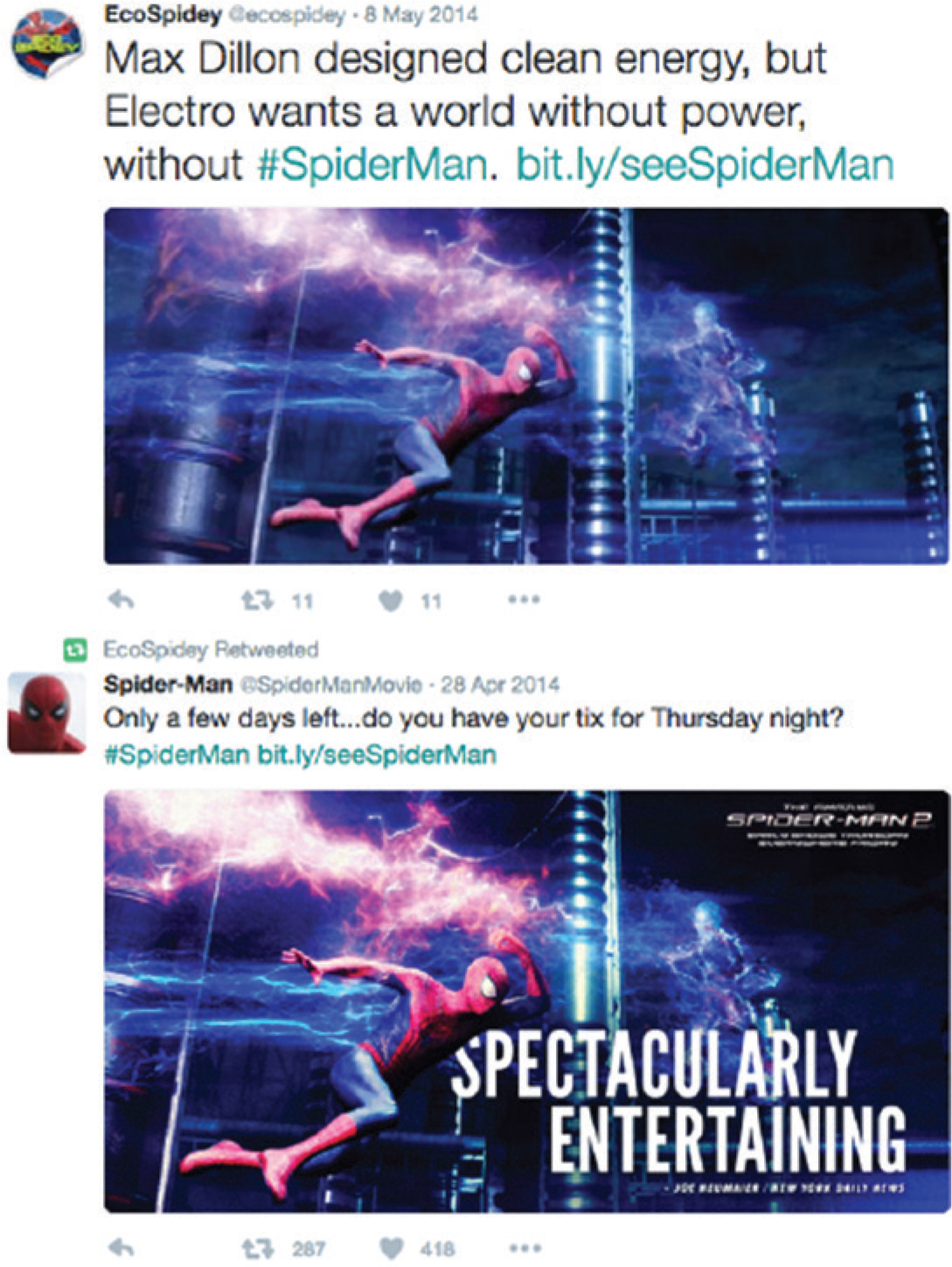 Figure 2. An image used for both @EcoSpidey and @SpiderManMovie Twitter campaigns.
