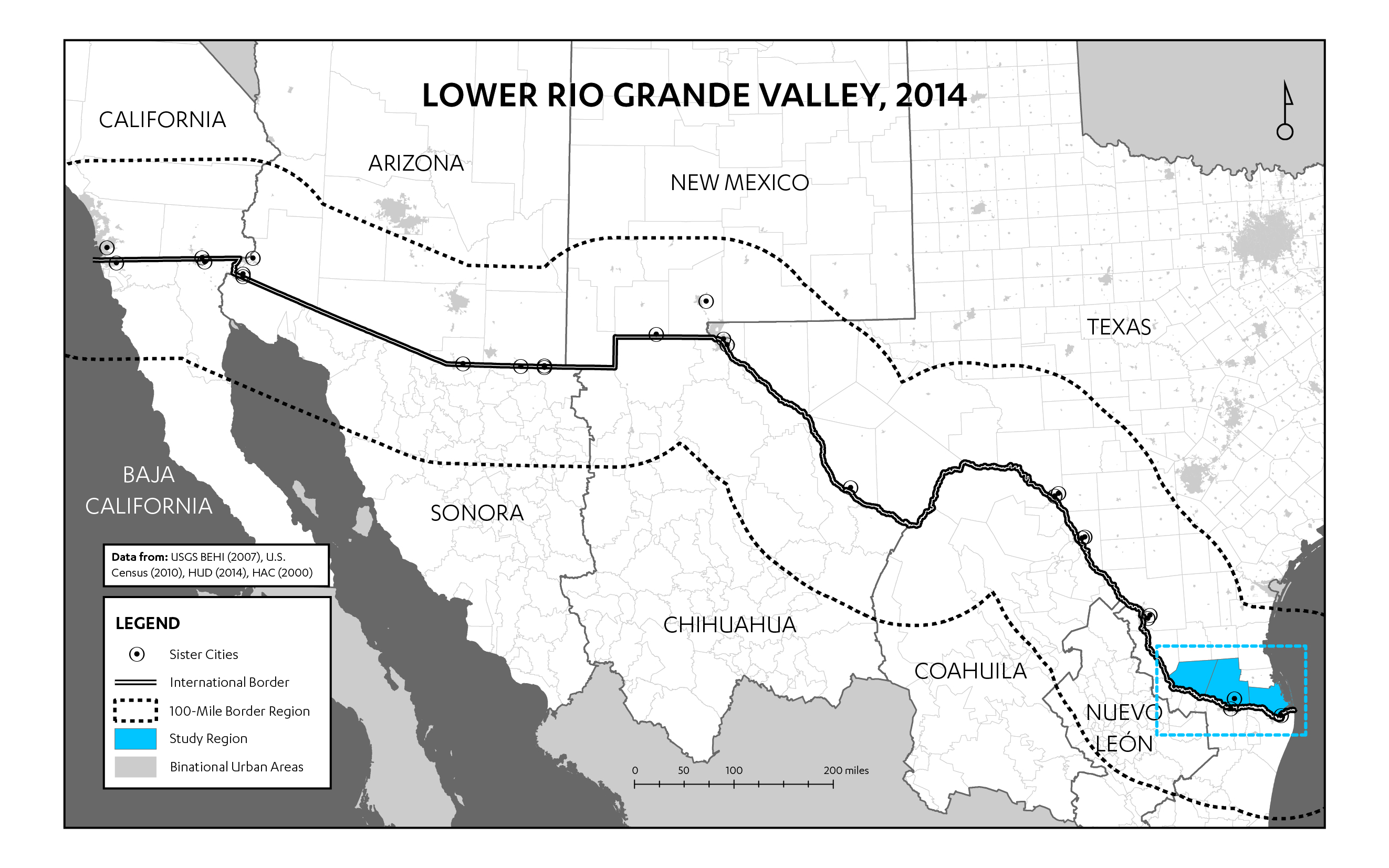 figure 4 map of the u s mexico border locating the lower rio grande valley