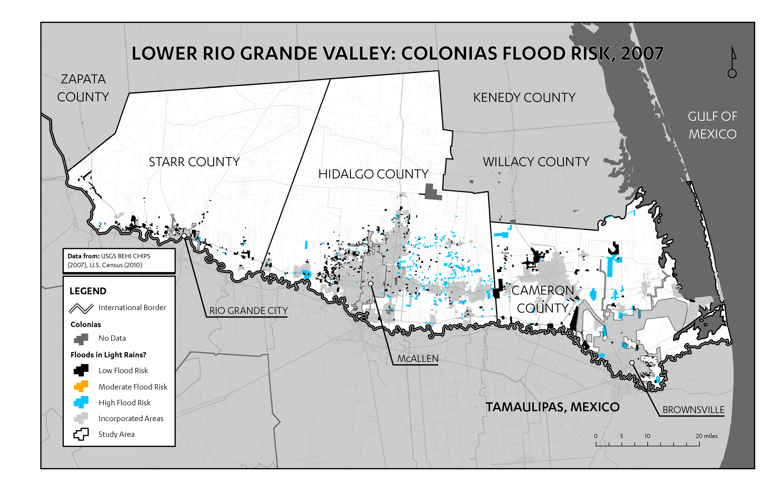 Figure 5: Map of flood-prone colonias in the Lower Rio Grande Valley (data from CHIPS 2007). This vulnerability to flooding is dangerously exacerbated during hurricanes, and due to the Lower Rio Grande Valley's proximity to the Gulf of Mexico, such storms are not uncommon. The last major hurricane in the region, Ike in 2008, was the costliest hurricane ever to hit Texas. Describing its aftermath, staff at a Hidalgo County nonprofit recalled that floodwaters from Ike remained for over a year. This emphasizes the importance of adequate stormwater systems. While hardscaping is expensive, there may be an opportunity to use creative softscaping to safely redirect pooling waters.