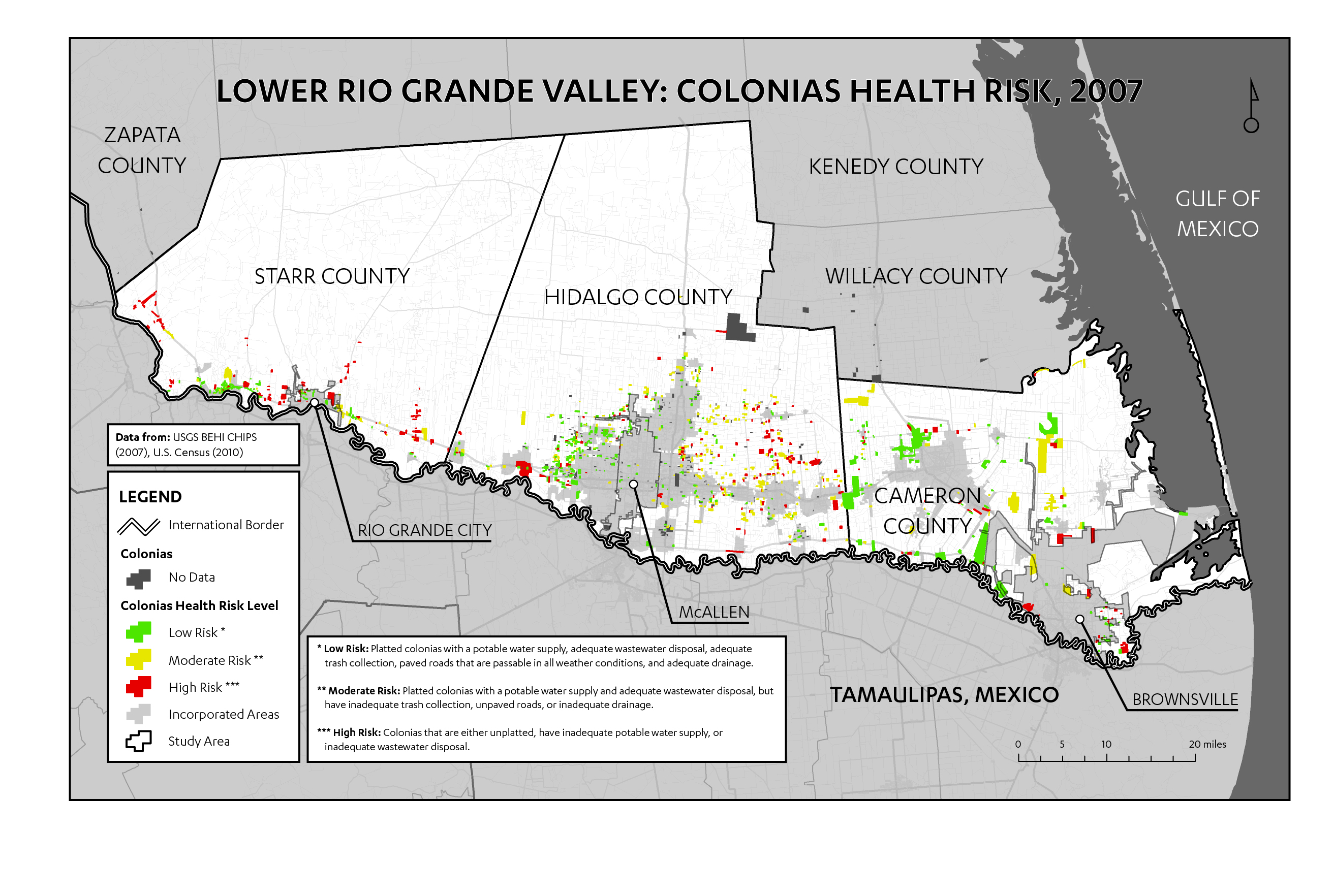 "Figure 6: Map of health concerns in Lower Rio Grande Valley colonias (data from CHIPS 2007). ""Health risk"" represents the combined effects of several factors, including wastewater disposal (as indicated by the presence of cesspools), potable water supply, road surface, flood susceptibility by lot and roads, and whether lots have been legally subdivided (platted). While the colonias immediately west of McAllen appear to have low health risk, the rest of the region appears less homogenous, suggesting that services may be unevenly distributed. Nonprofit leaders note that such data sets do not factor in other environmental health risks, such as polluted lands and poor air quality."
