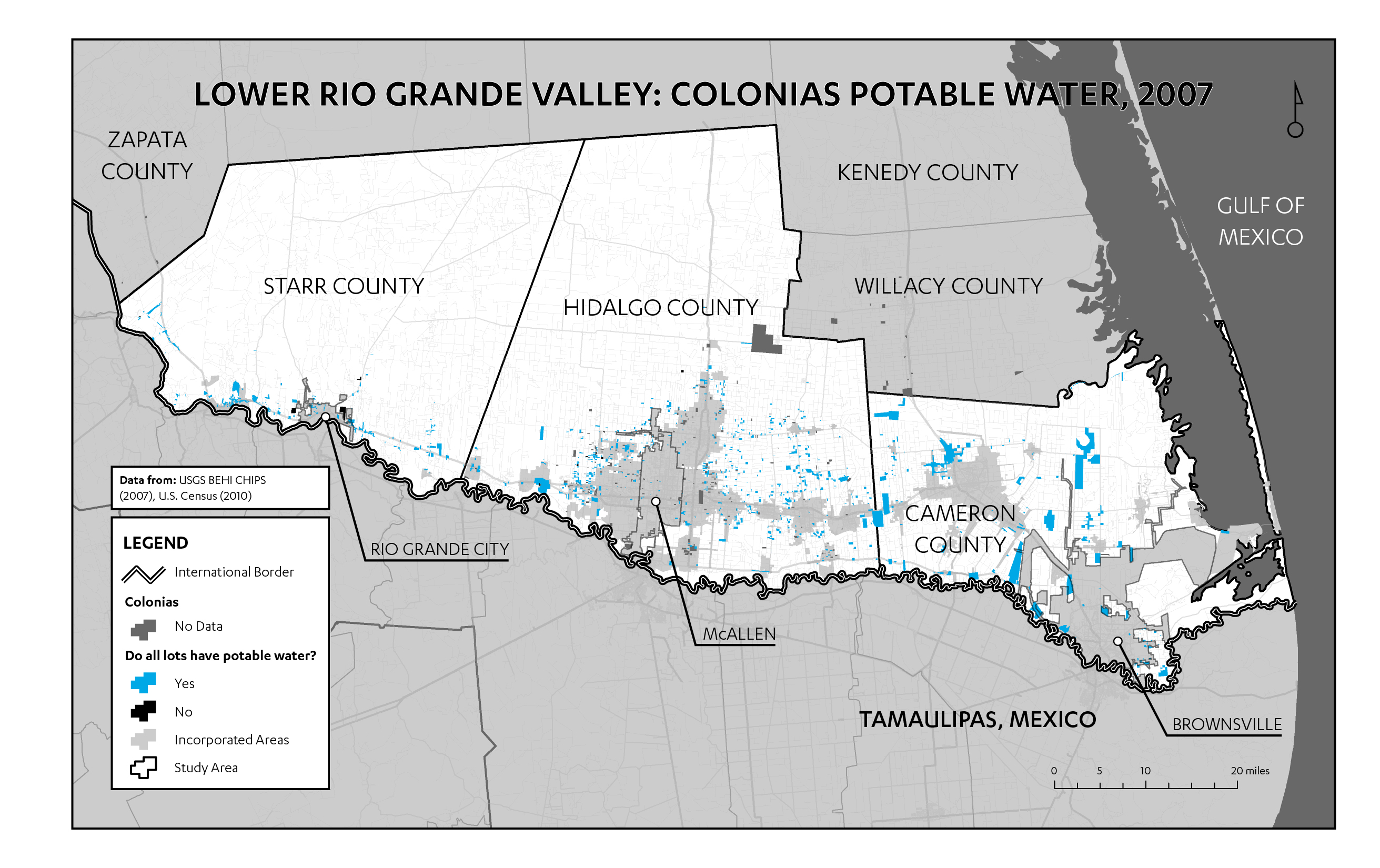 Figure 8: Map of potable water access in Lower Rio Grande Valley colonias (data from CHIPS 2007). One positive finding of the CHIPS data is that the majority of colonias have reliable potable water. Given the importance of water for survival, it is logical to assume that this would be the first service to reach colonias. But if many colonias are not captured in the CHIPS data set, it is possible that the unrecognized colonias are less likely than the recognized ones to have potable water. Most nonprofit leaders agreed, however, that potable water is no longer a pressing issue in colonias.