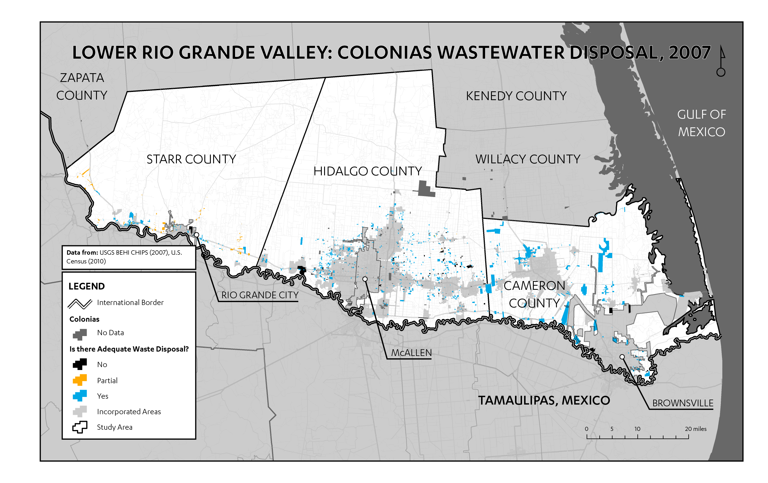 "Figure 9: Map of wastewater disposal in Lower Rio Grande Valley colonias (data from CHIPS 2007). According to CHIPS, problems with wastewater disposal are concentrated in Starr County, where most colonias settlements appear to have only partial access to adequate wastewater disposal (shown as orange). Across Hidalgo and Cameron Counties, access to wastewater disposal is more unequally distributed. In these two counties, colonias are marked as having either adequate wastewater or no wastewater disposal at all. This clear divide between ""served"" and ""unserved"" begins to suggest different approaches to colonias utilities improvement at the county level."