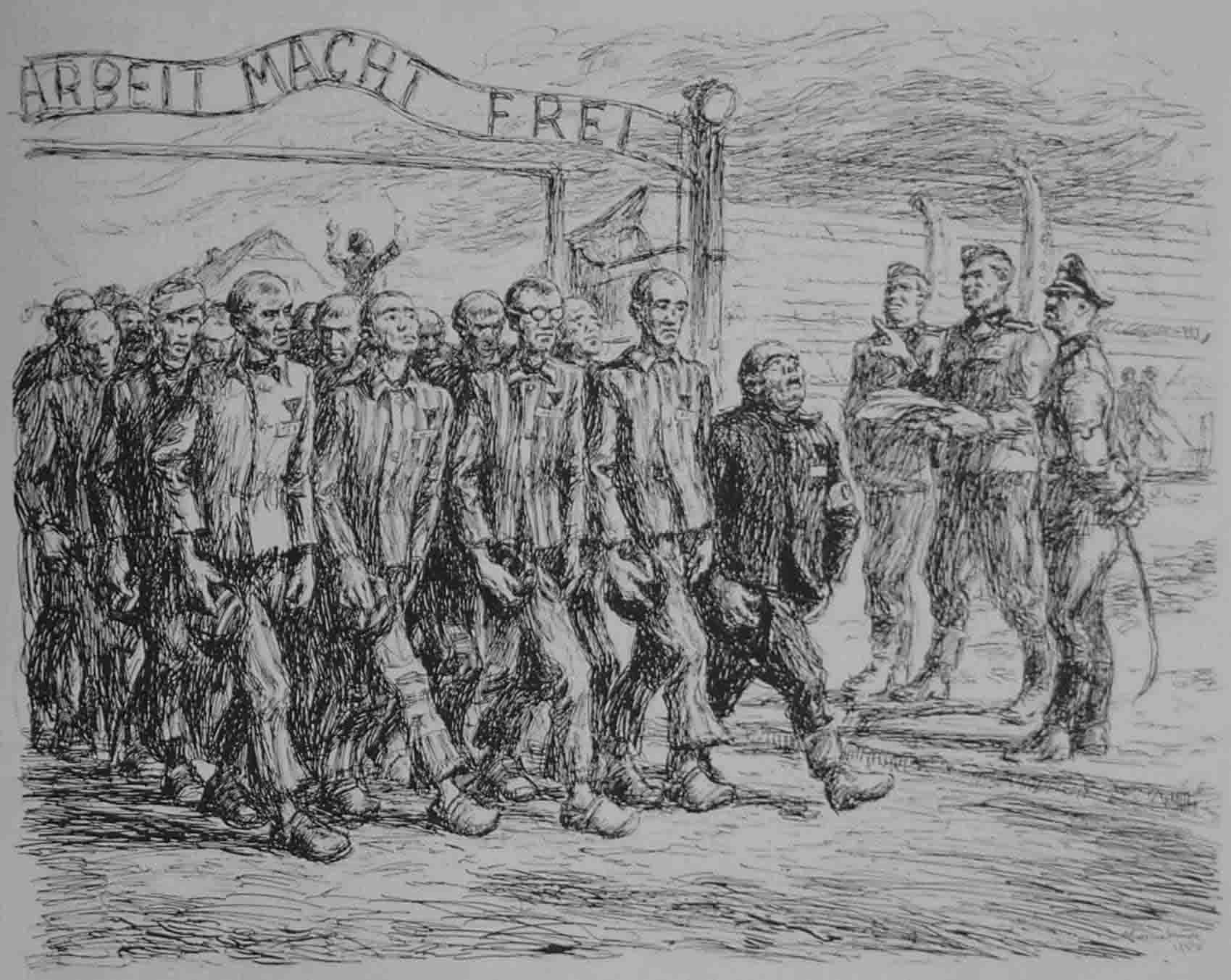 "music in concentration camps 1933 1945 figure 1 this pen and ink drawing under the title ""wymarsz k d"