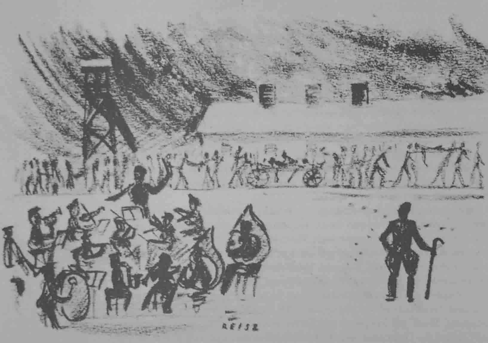 Figure 4. This drawing was made secretly in Birkenau by François Reisz. It shows the camp orchestra playing as work details returns to the camp; they carried out the dead on stretchers and handcarts (published in Projektgruppe Musik in Konzentrationslagern, ed., Musik in Konzentrationslagern (Freiburg i.Br., 1991), 58)