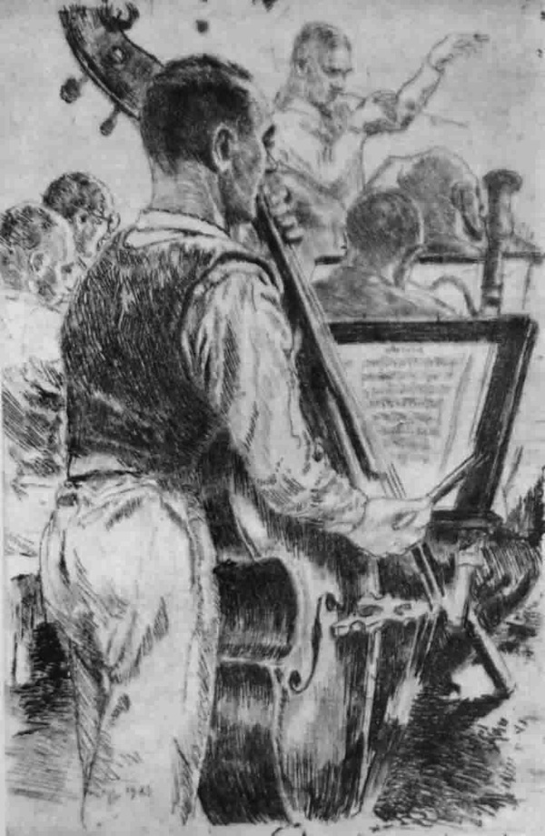 "Figure 6. The official camp orchestras often provided an important impulse in the field of instrumental music. Thus, those involved in the camp ensembles often formed other music groups, and maximum use was made of the available instruments. Besides, other prisoners frequently formed the audience for concerts or rehearsals by the camp orchestras, as we see here in this etching made by Mieczysław Koscielniak under the title ""Adam Kopycinski – concert"" in Auschwitz in 1943. Published in M. Koscielniak: Bilder von Auschwitz, 2d ed. (Frankfurt a. M., 1986), n.p. Adam Kopycinski conducted the camp orchestra of the main camp of Auschwitz."