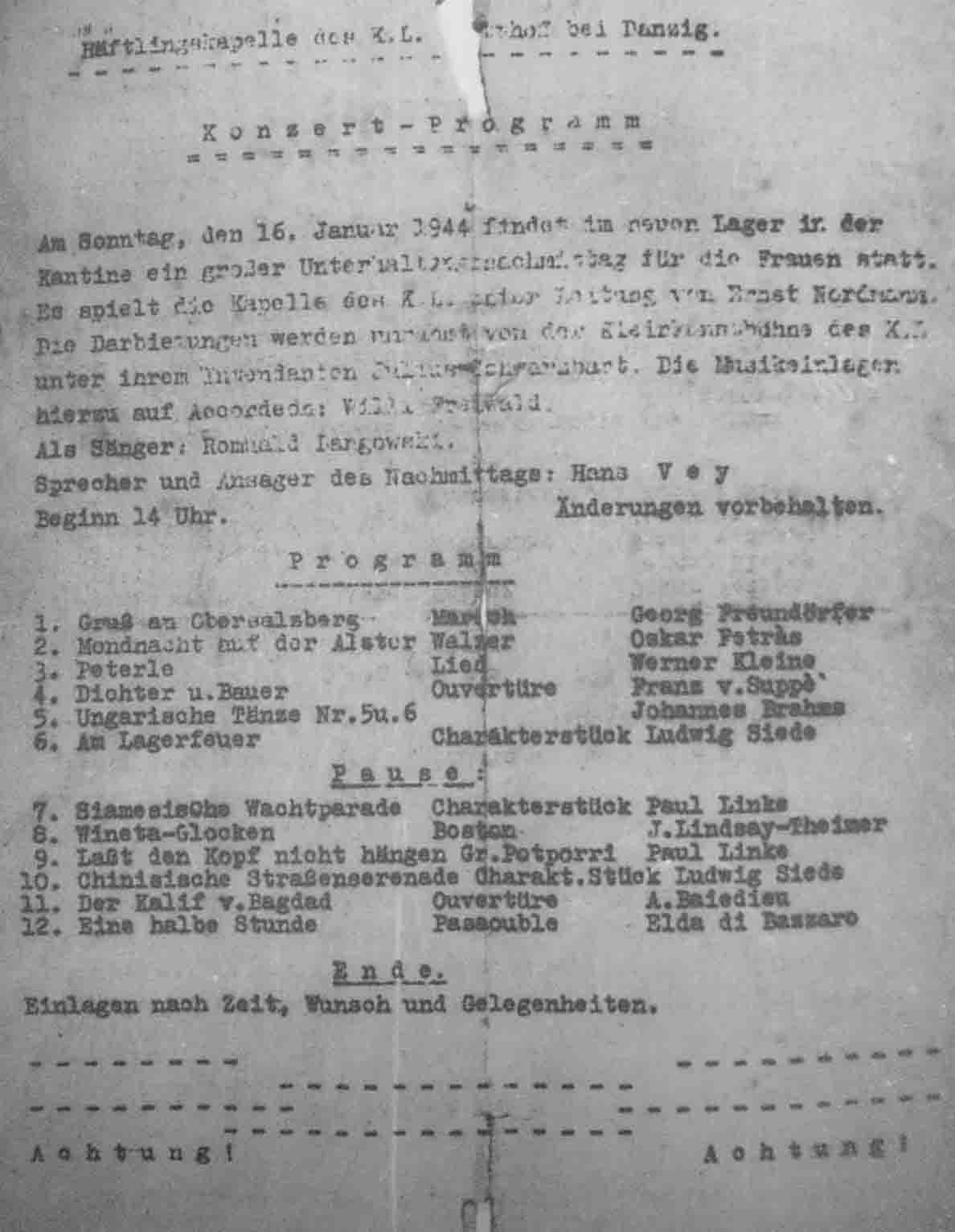 music in concentration camps 1933 1945 program for an afternoon entertainment for female prisoners in the stutthof concentration camp