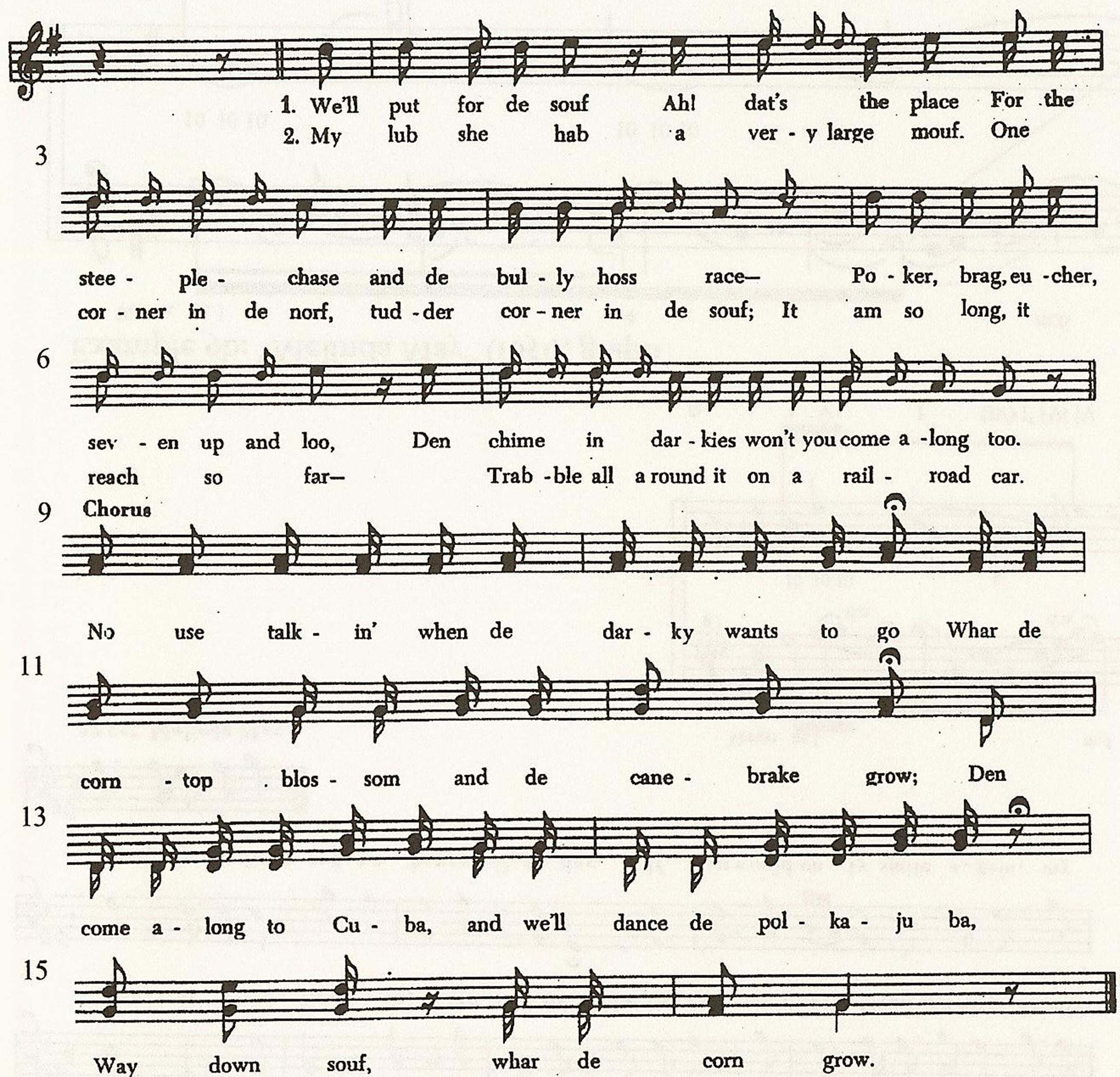 "Example 6a: ""Away down Souf"" (1848), verse and refrain"