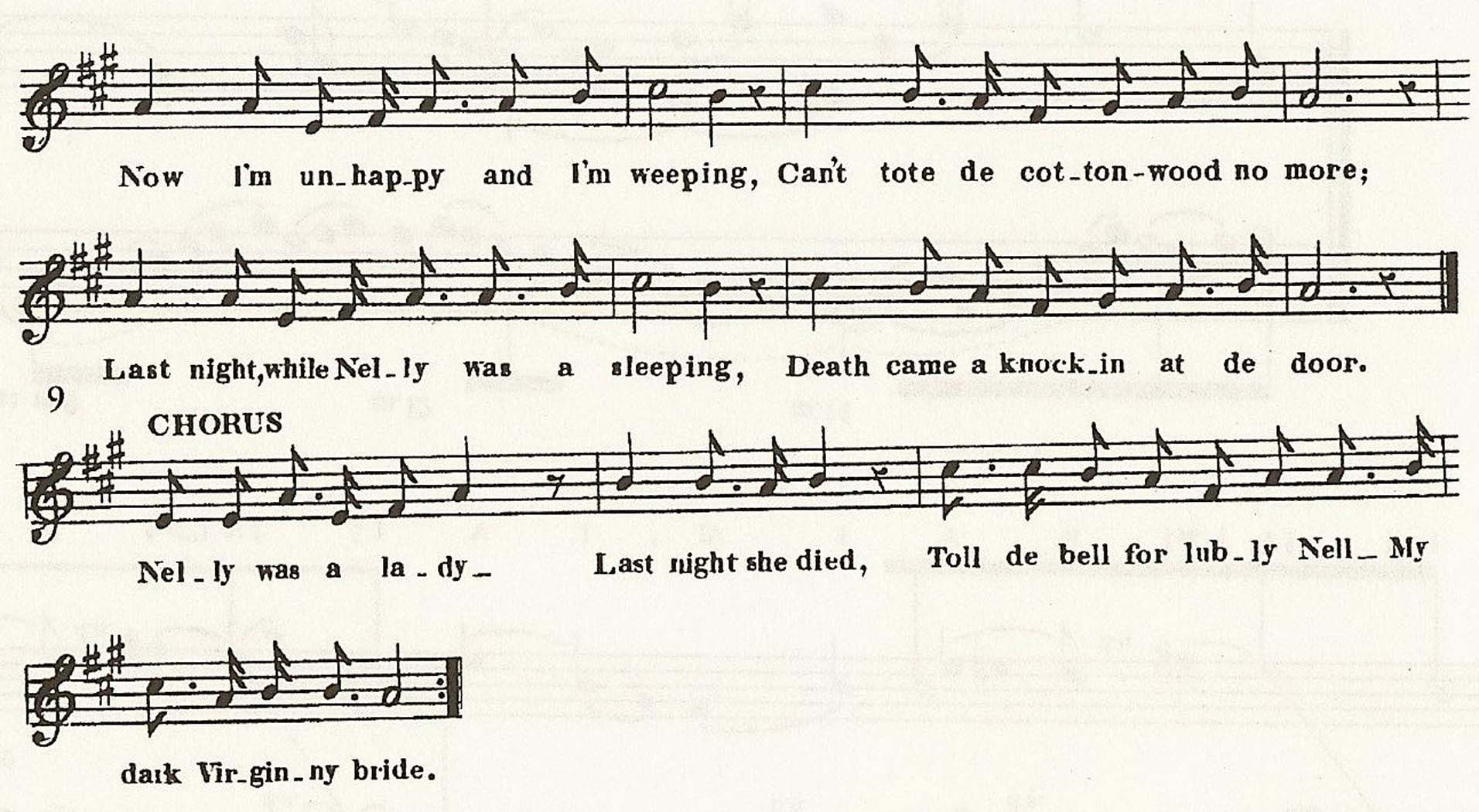 "Example 7a: ""Nelly Was a Lady"" (1849), verse 2 and refrain"