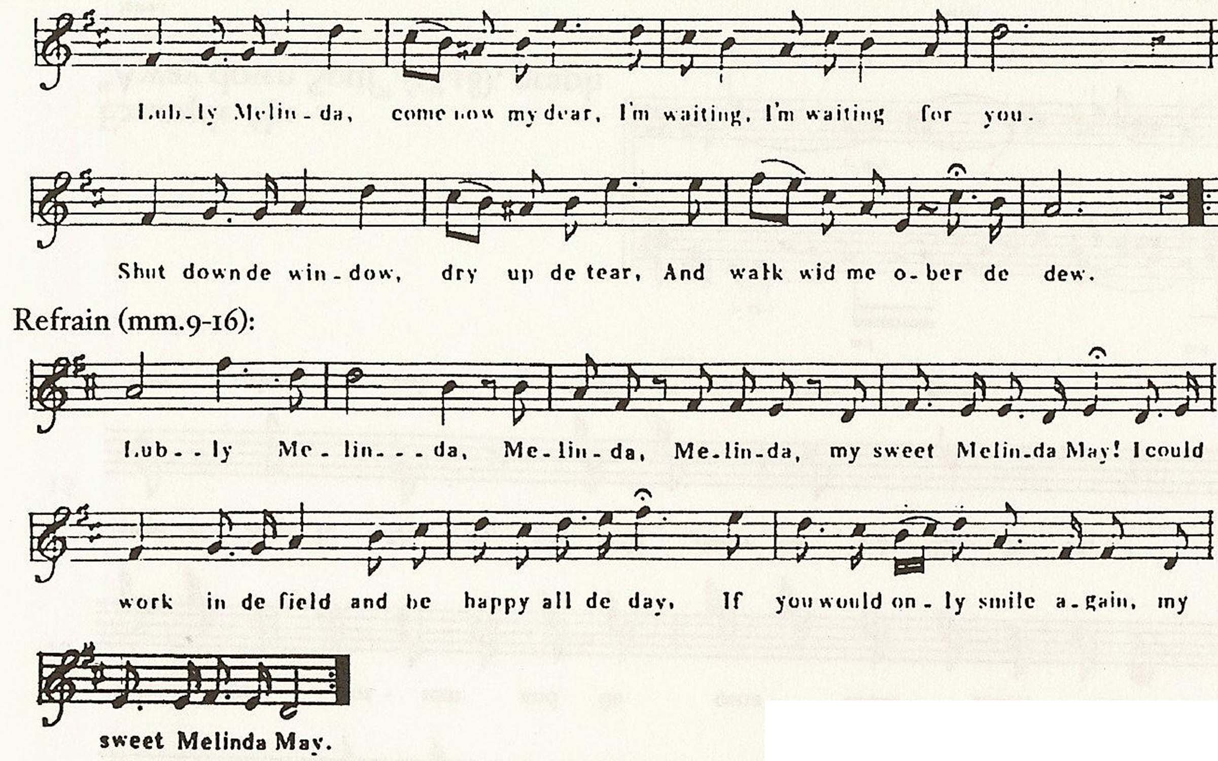"Example 9a: ""Melinda May"" (1851), verse 1 and refrain"