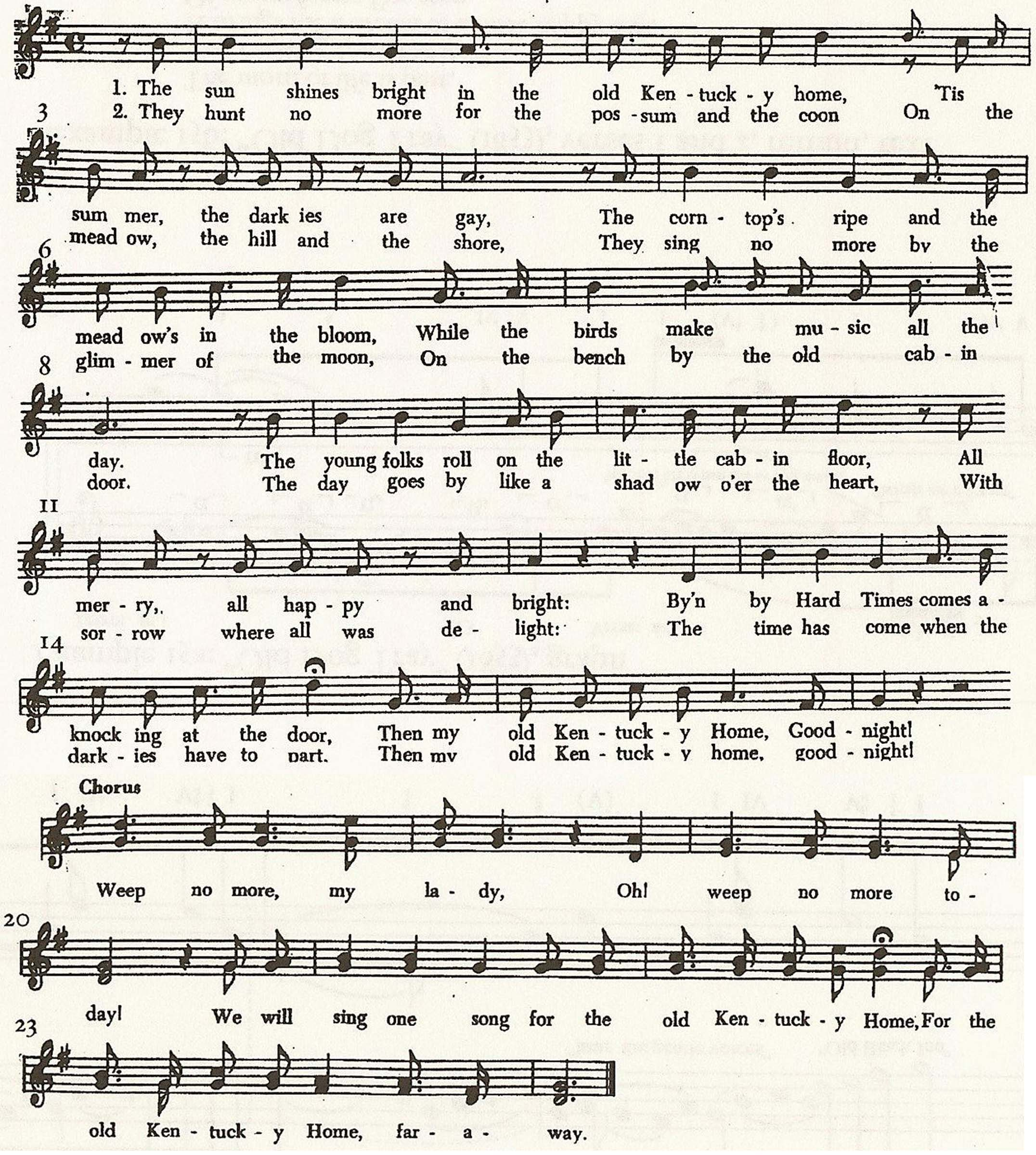 "Example 14a: ""My old Kentucky Home, Good night"" (1853), melody"