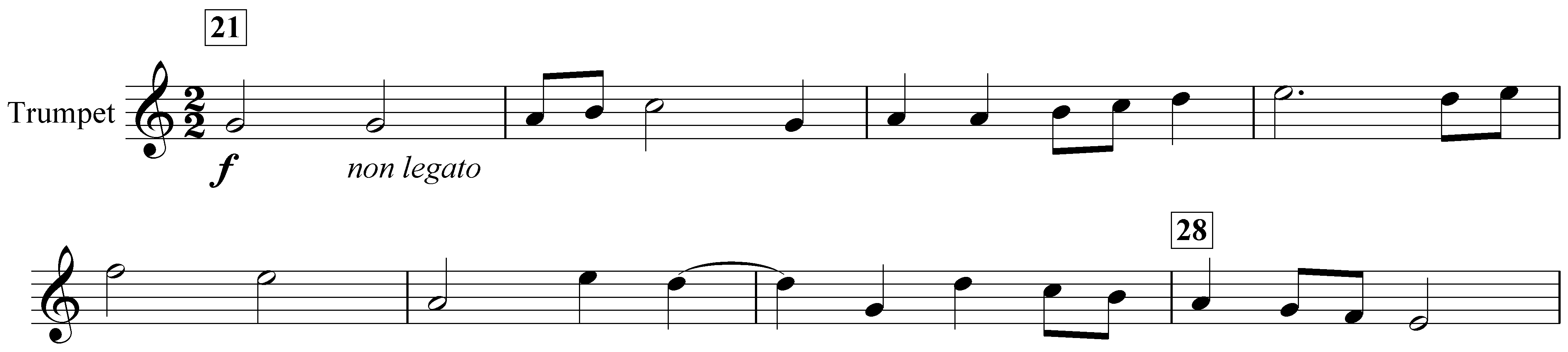 Example 2. Nottingham Symphony: Fourth movement, bars 21–28. First subject in trumpet