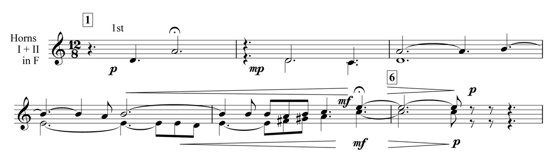 Example 3. Nottingham Symphony: First movement, bars 1–6. Introduction in horn in F (in transposition)