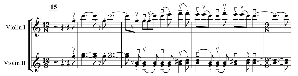 "Example 4. Nottingham Symphony: First movement, bars 15–19. First subject in violin I (with ""galloping"" motif in violin II )"